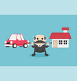 chief businessman who is carrying home and car vector image vector image