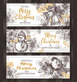 christmas happy holiday horizontal banners for web vector image vector image