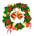 Christmas wreath with bells fruit and holly vector image vector image