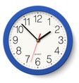classic round wall clock in blue body isolated vector image vector image