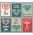 collection romantic and love cards with hand vector image