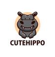 cute hippo cartoon logo icon vector image vector image
