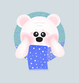 cute white bear with red cheeks with blue scarf vector image vector image