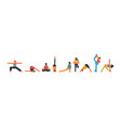 diverse people set doing yoga pose exercises vector image vector image