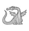 dragon fabulous animal engraving vector image