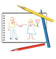 Drawn by a child in the album a couple in love vector image vector image