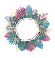 elegant blue and pink round frame of tropic leaves vector image