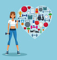 fitness woman with sport symbols vector image