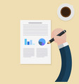 flat hands hold pencil to write document with cup vector image