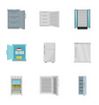 freezer icon set flat style vector image vector image