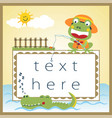 funny fishing cartoon with little frog vector image