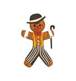 gingerbread man looks like gentleman christmas vector image