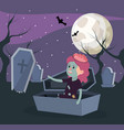 halloween and girl vector image