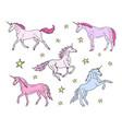 hand drawn pastel set unicorn on white vector image vector image