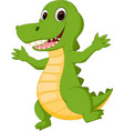 happy crocodile cartoon vector image vector image