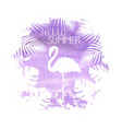 hello summer lettering flamingo purple poster vector image vector image
