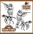 hunters with dogs - retro clipart vector image vector image