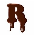 Letter R from latin alphabet made of chocolate vector image vector image
