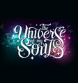 lettering typography design on space background vector image vector image