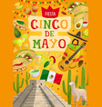 mexican holiday fiesta cinco de mayo celebration vector image vector image