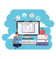 online education millennial student splash frame vector image vector image