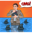 Pop Art Worried Businessman Swimming with Sharks vector image