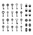 retro locks and keys set vintage silhouettes for vector image