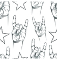 Seamless pattern with Rock n Roll sign and a stars vector image vector image
