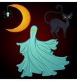 Set for Halloween moon ghost cat vector image