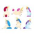set of unicorns isolated on white background vector image vector image