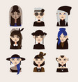 set with gothic girls characters drawn vector image vector image