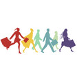 silhouettes people walking in street vector image vector image