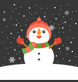 snowman with mitten vector image vector image