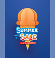 summer sale poster with ice cream cone on blue vector image vector image