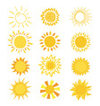 sun sunny icon with yellow sunlight and vector image