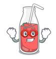 super hero strawberry smoothie character cartoon vector image