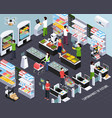 supermarket future technology isometric vector image vector image