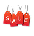 suspended sale tags on white background vector image