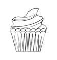 sweet cupcake cream delicious pastry hand drawing vector image vector image