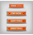 try now and free trial on 3d orange buttons vector image vector image