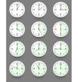 Twelve clocks showing different time vector image