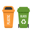 two multicolored recycle waste bins flat vector image vector image