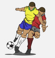 two players fighting for the ball vector image vector image