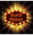 Retro symbol with glowing lamps for Black friday vector image