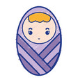 baby boy with pacifier and hairstyle vector image