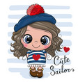 bacartoon girl in sailor costume vector image vector image