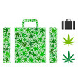 baggage collage of weed leaves vector image