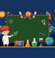 banner template with boy in lab gown and space vector image vector image