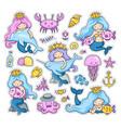 big set of little mermaids stickers vector image