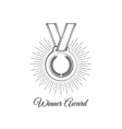 blank winner award medal with ribbon isolated on vector image vector image